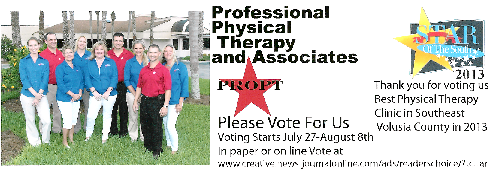 Voted Best PT Clinic 2013